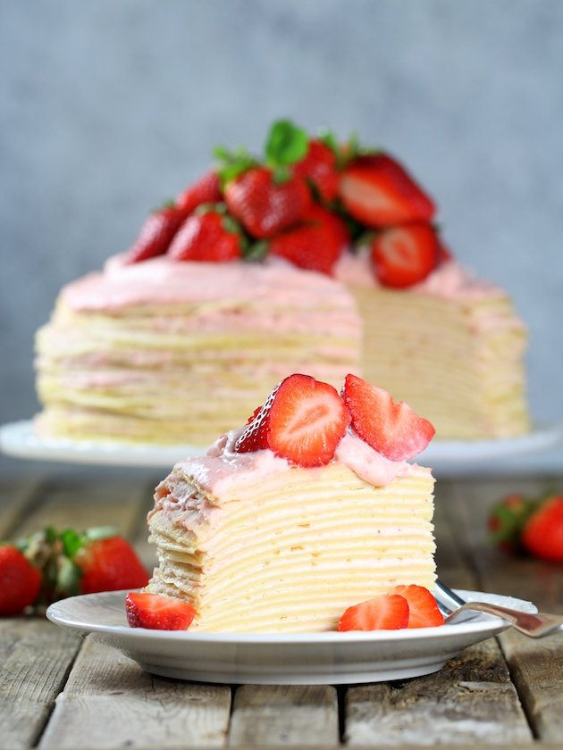 Strawberry Lemon Creme Crepe Cake Recipe