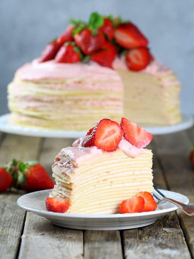 Strawberry Lemon Creme Crepe Cake!  #ValentinesDay #crepes #strawberry ||| https://tasteandsee.com ||
