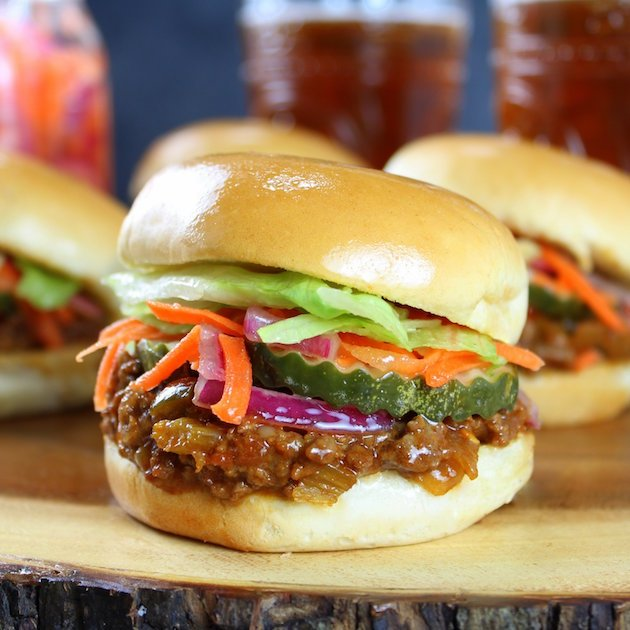 Asian Sloppy Joes with Pickled Carrots and Onions Recipe