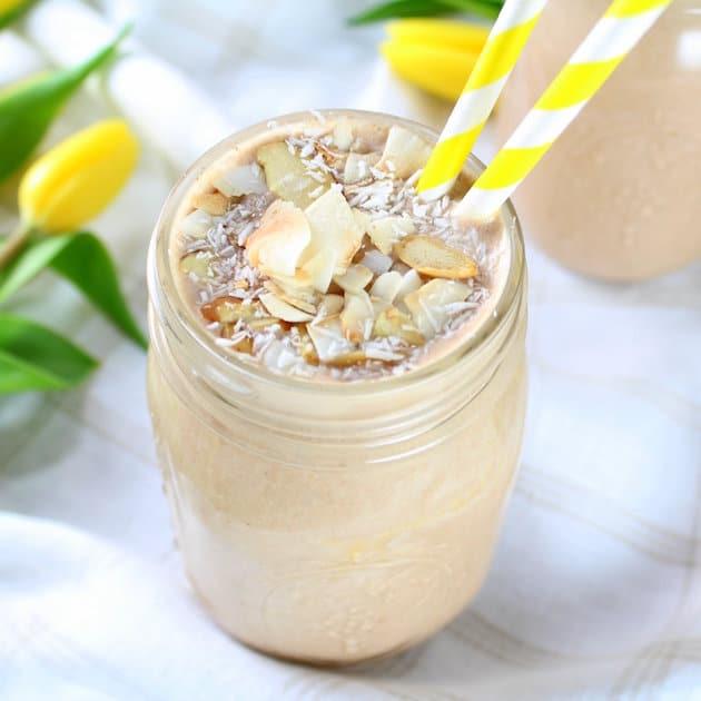 Healthy Almond Joy Protein Smoothie Image Coconut Chocolate Protein Smoothie
