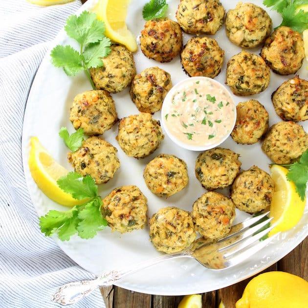 Lighter Tuna Cakes Recipe with Garlic Lemon Yogurt Sauce