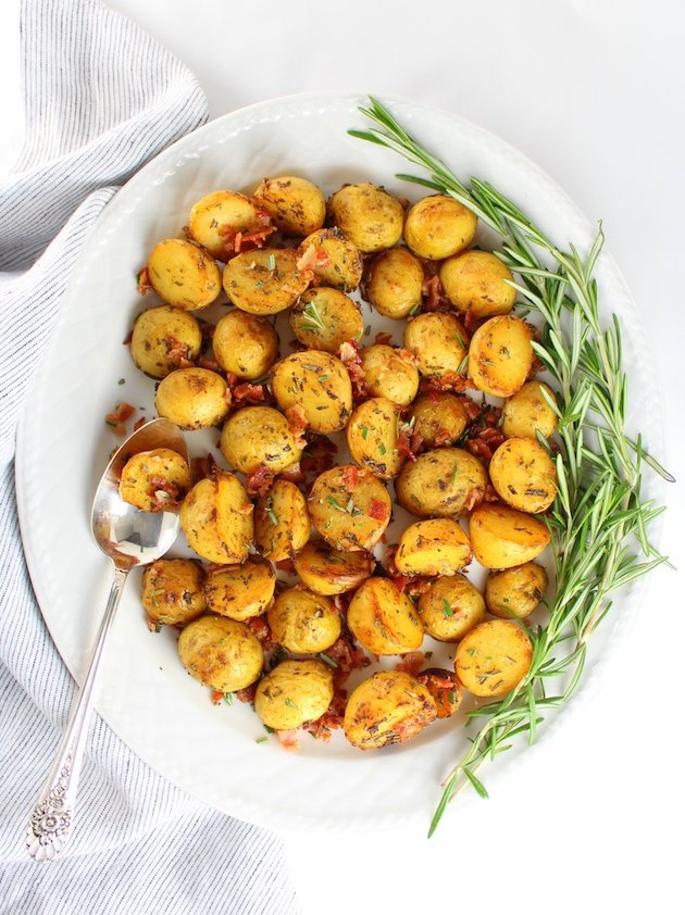 platter of roasted baby potatoes with rosemary
