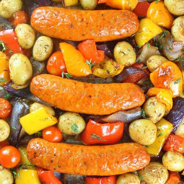 Over top chicken sausage sheet pan dinner