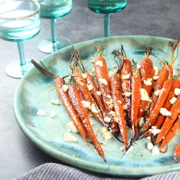 Honey Roasted Carrots with Goat Cheese and Pepitas Recipe Image - an amazingly flavorful veggie side dish.