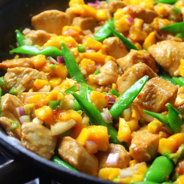 Mango Chicken Stir-Fry with Snap Peas Image from chef Ming Tsai – a healthy, fast, delicious Asian easy weeknight dinner
