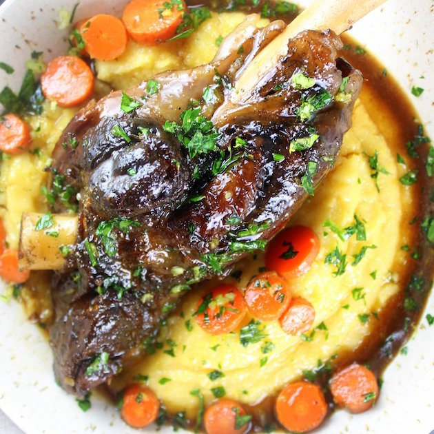 Slow Cooked Lamb Shanks With Polenta