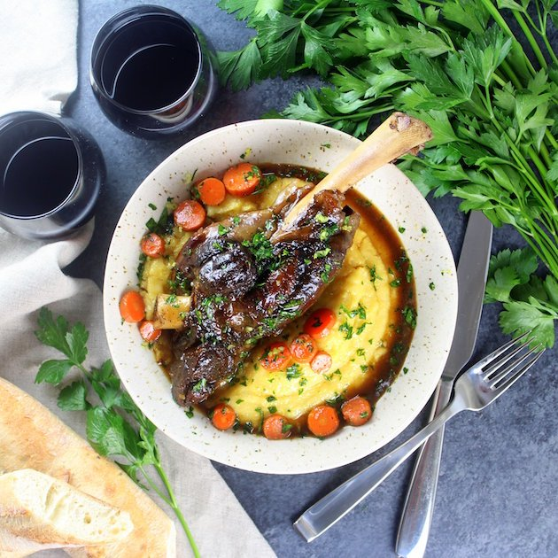 Slow Cooked Lamb Shanks with Polenta Image