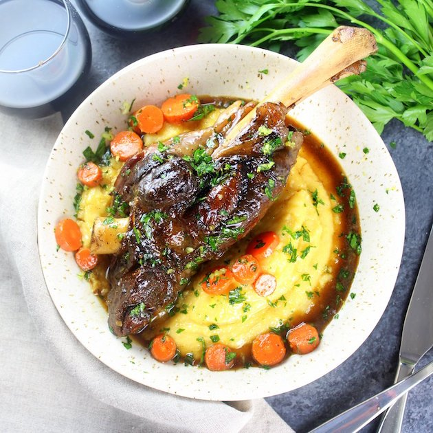 Slow Cooked Lamb Shanks Recipe with Polenta Image
