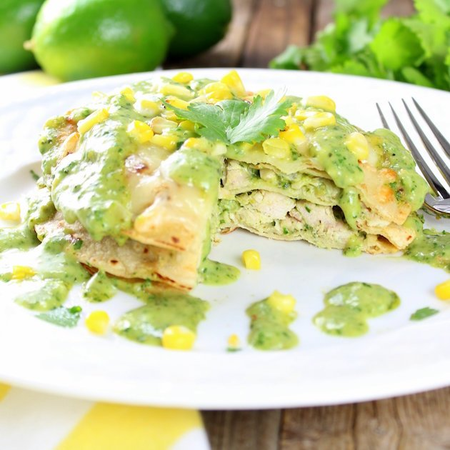 Stacked Chicken Enchiladas Recipe Image