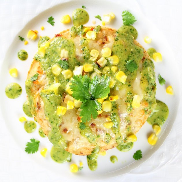 Stacked Chicken Enchiladas with Cheesy Poblano Sauce Recipe Image