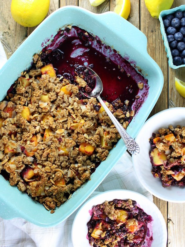 Baking dish and dessert bowls with Tropical Blueberry Mango Coconut Crumble