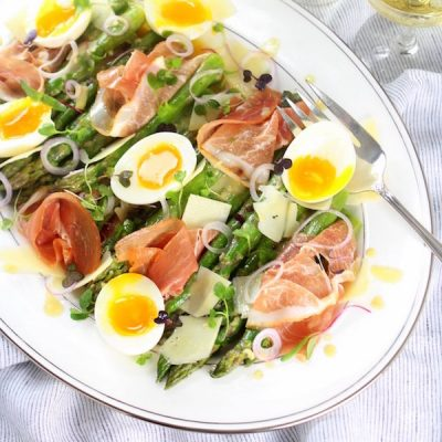 Asparagus Salad Recipe with Prosciutto, Eggs and Dijon Vinaigrette
