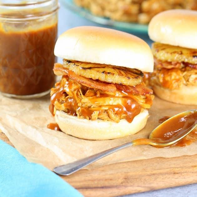 Hawaiian Chicken and Bacon Slow Cooker Sandwich