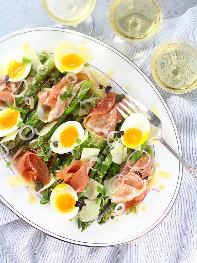 Asparagus Salad Recipe with Prosciutto, Eggs and Dijon Vinaigrette Recipe Image