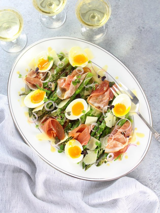 Asparagus Salad with Prosciutto, Eggs and Dijon Vinaigrette Recipe Image