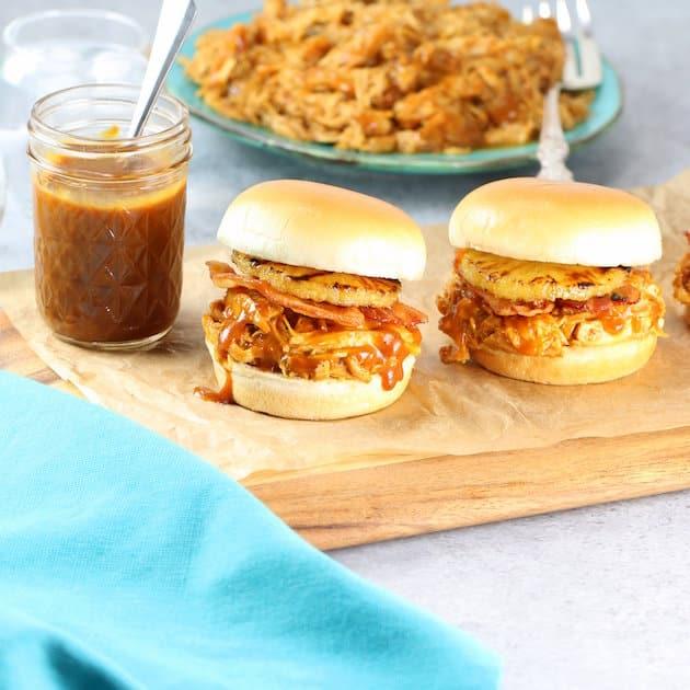 Hawaiian Chicken and Bacon Slow Cooker Sandwich Recipe Image - An easy weeknight dinner!