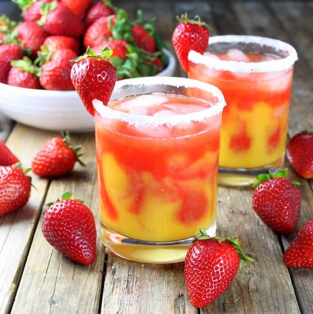 Honey Mango Strawberry Margarita Recipe Image