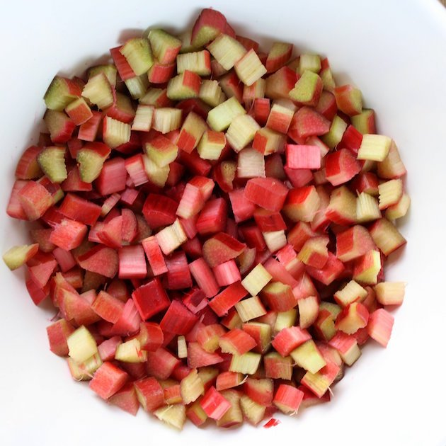 Diced rhubarb in a bowl