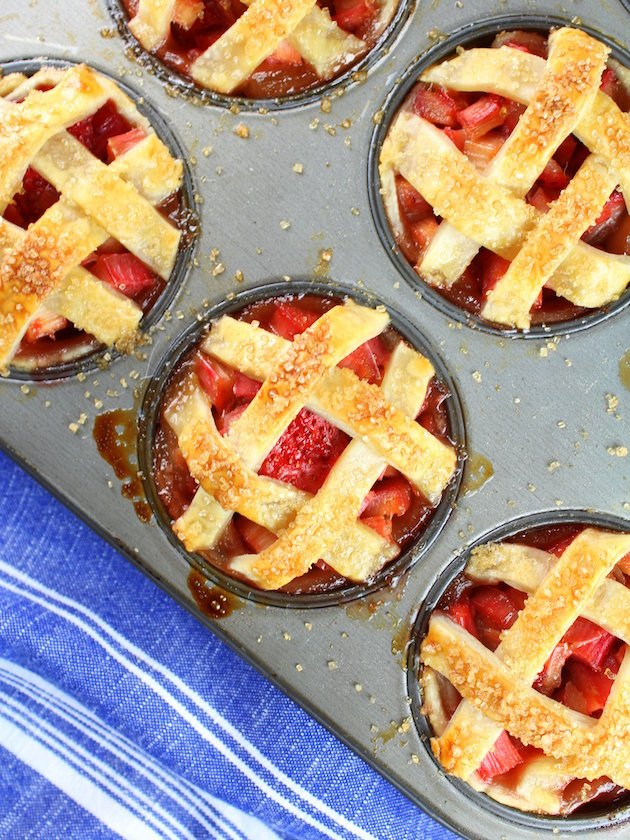 Mini Strawberry Rhubarb Pies in Muffin Tins