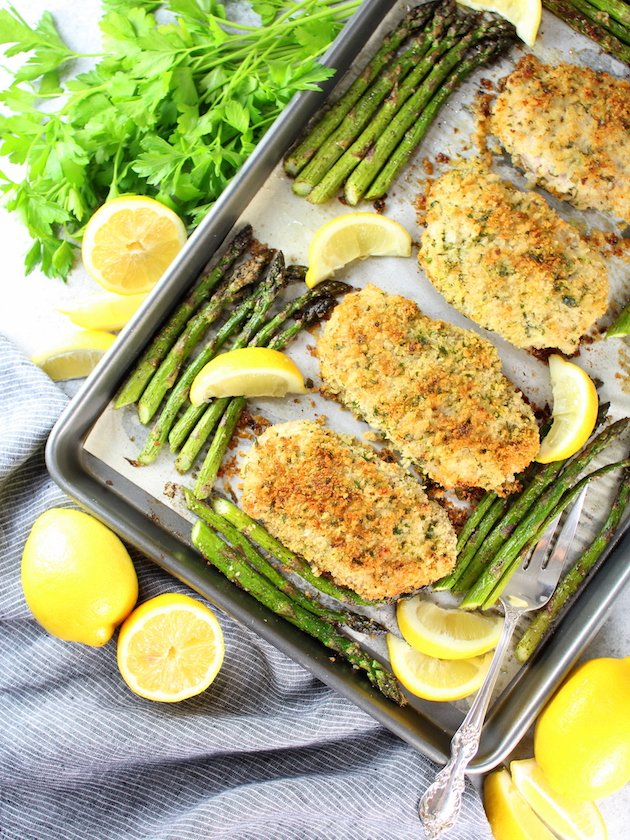 One Pan Parmesan Pork Chops with Asparagus