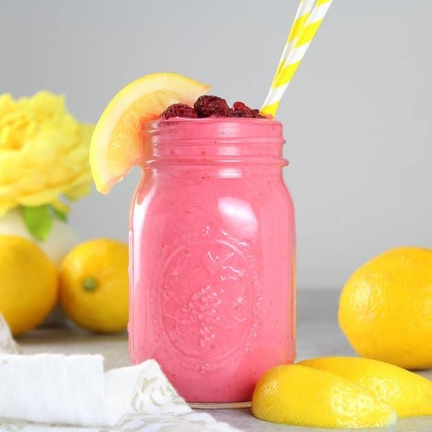 Raspberry Lemonade Smoothie Image Healthy Easy Smoothie Recipe!