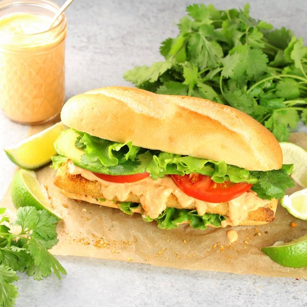 Baja Fish Sandwich Recipe and Image - zesty flavorful cod sandwich perfect for family dinners!