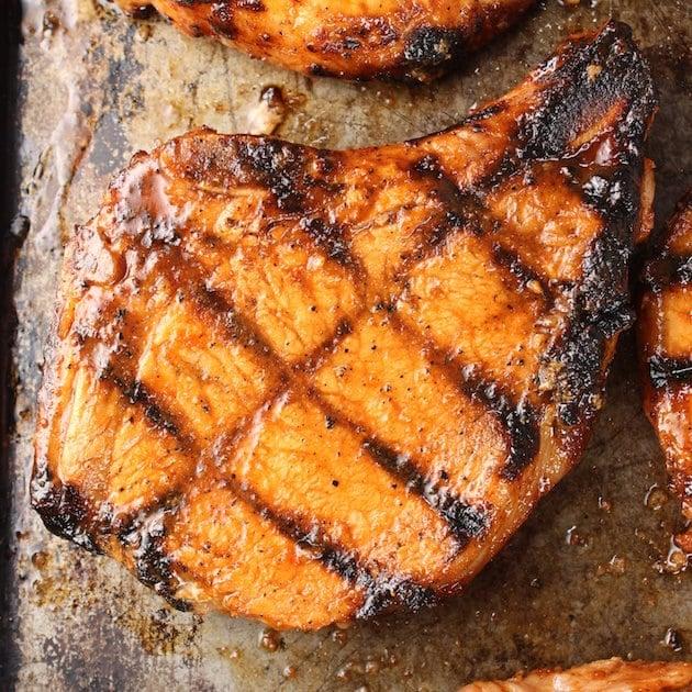 A pork chop after grilling