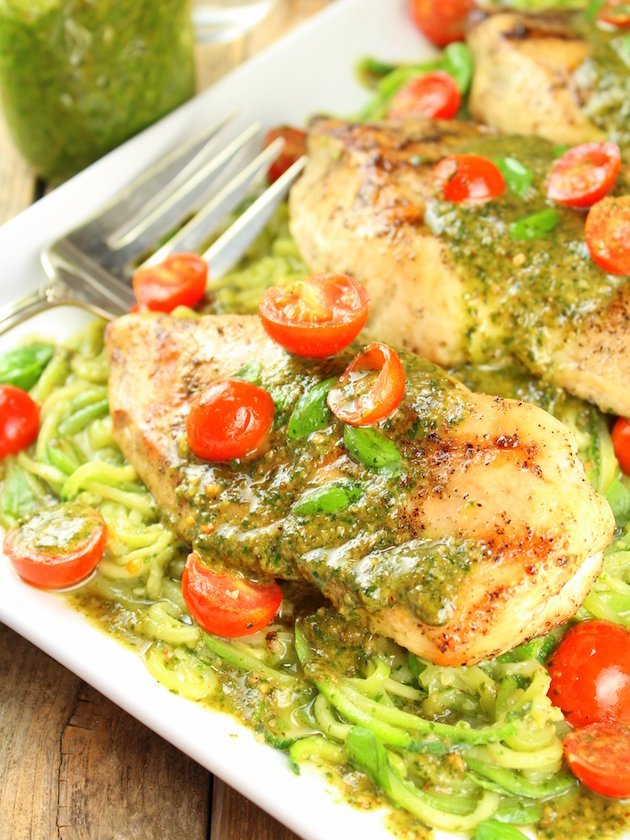 Mozzarella and Pesto Stuffed Chicken with Zoodles is a fresh and cheesy well-balanced meal the whole family will enjoy