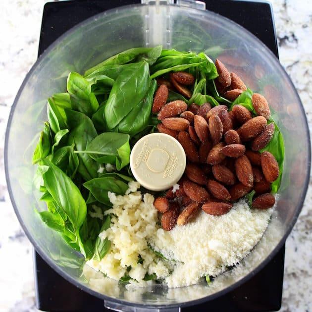 Homemade Pesto Ingredients in Food Processor