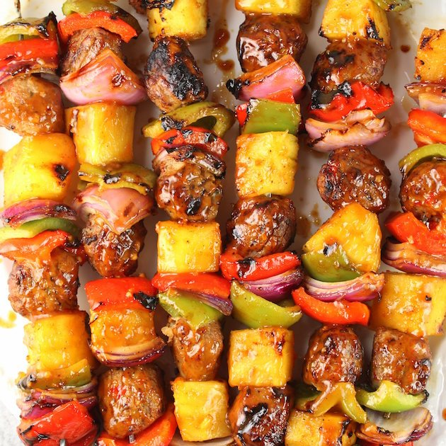Teriyaki Chicken Meatball Kabobs Recipe & Image - Fresh pineapple, red & green peppers, red onions, Teriyaki Ginger Chicken Meatballs and homemade Teriyaki sauce.