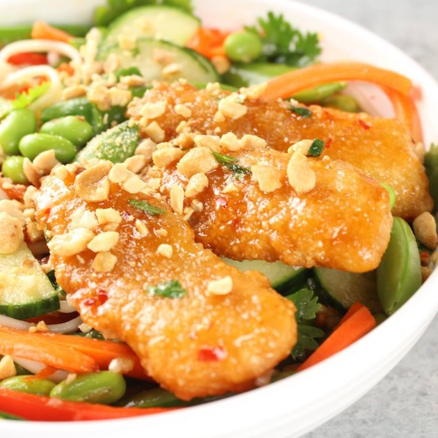 Thai Fish Noodle Bowl A healthy veggie bowl recipe image