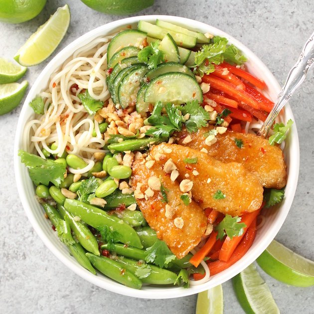 Thai Fish Noodle Bowl Image & Recipe - Full Bowl Over Top