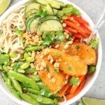 Bowl of fresh veggies with breaded fish tenders and Thai Sweet Chili Sauce