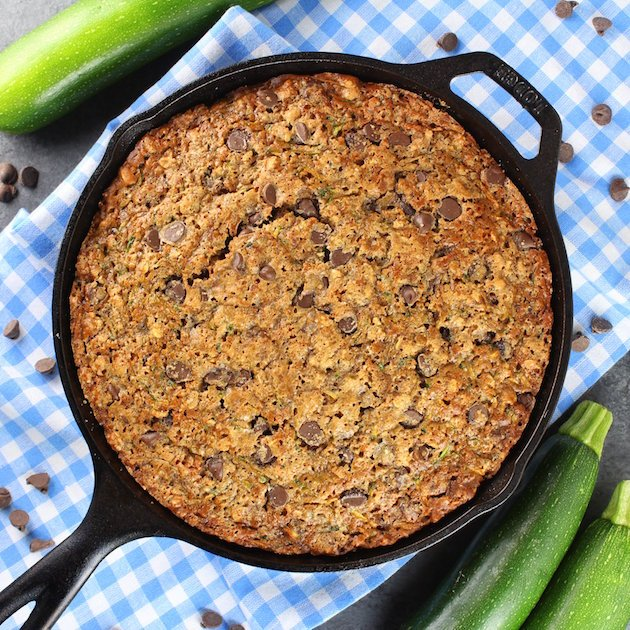 Chocolate Chip Zucchini Cake Recipe & Image - Full cast iron skillet over top