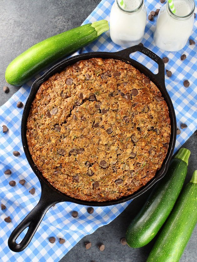 Chocolate chip zucchini cake in a cast iron skillet