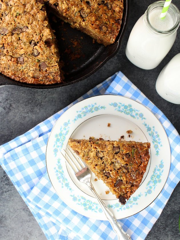 Chocolate Chip Zucchini Cake Recipe & Image - Piece of cake on plate with milk