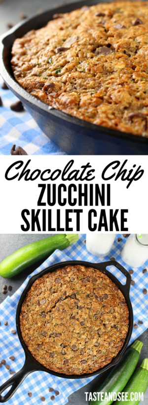 Chocolate Chip Zucchini Skillet Cake - Full of oats, chocolate chips, cinnamon, ginger and of course shredded zucchini  - creating the most delicious and moist zucchini bread ever!