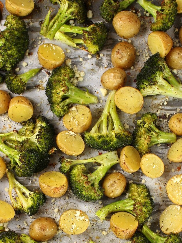Ranch Potatoes and Broccoli on cookie sheet