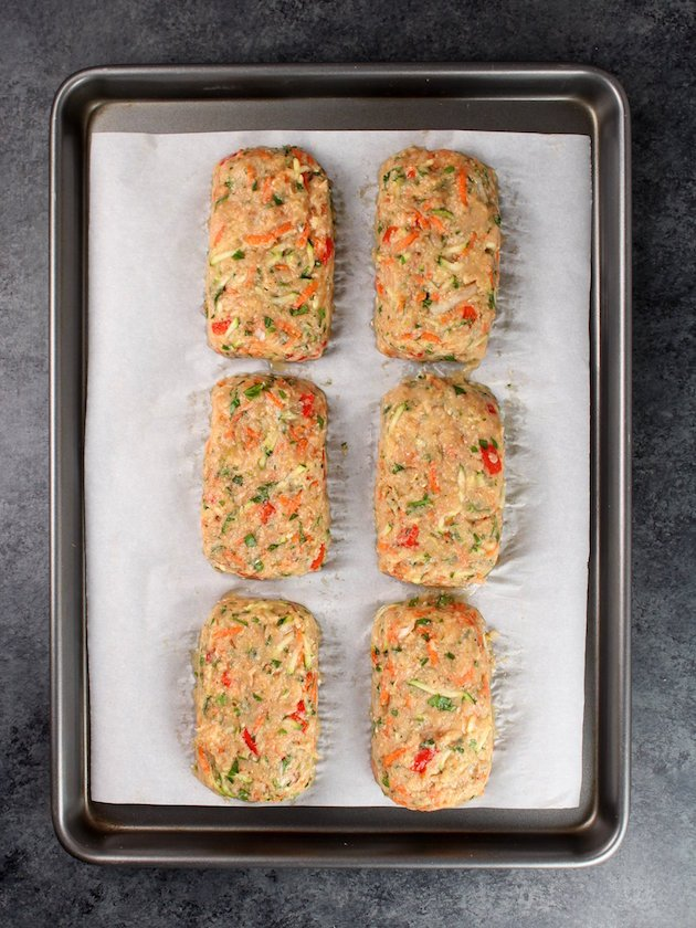 Turkey Meatloaves on parchment paper