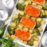 Turkey Meatloaves with Ranch Potatoes and Broccoli on serving platter