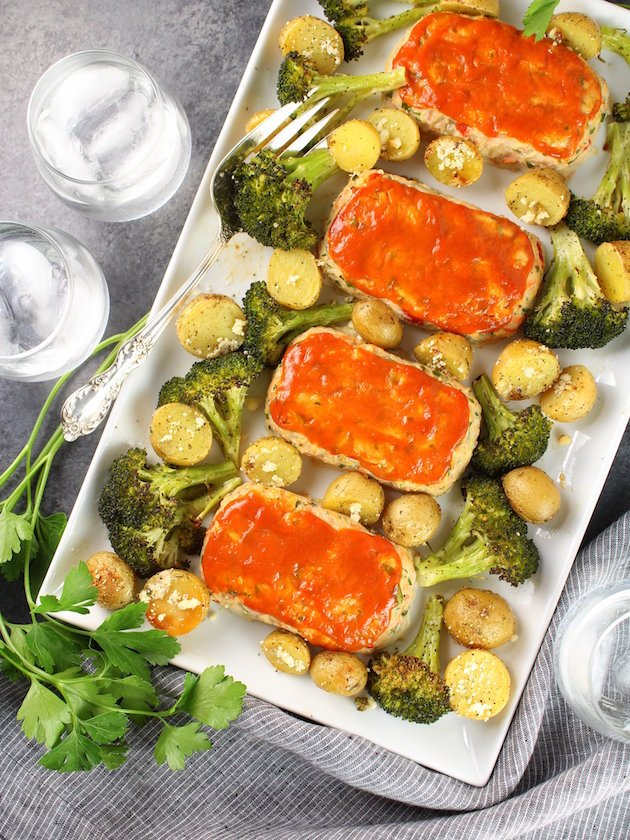 Turkey Meatloaves with Ranch Potatoes and Broccoli
