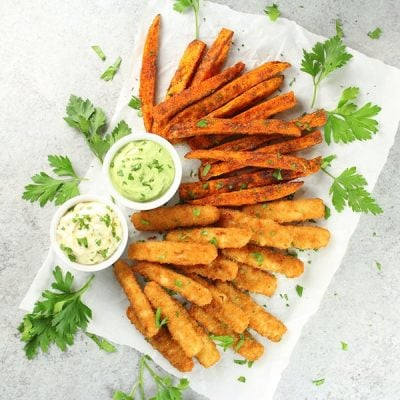 Fish Sticks and Sweet Potato Fries with Avocado Ranch Sauce