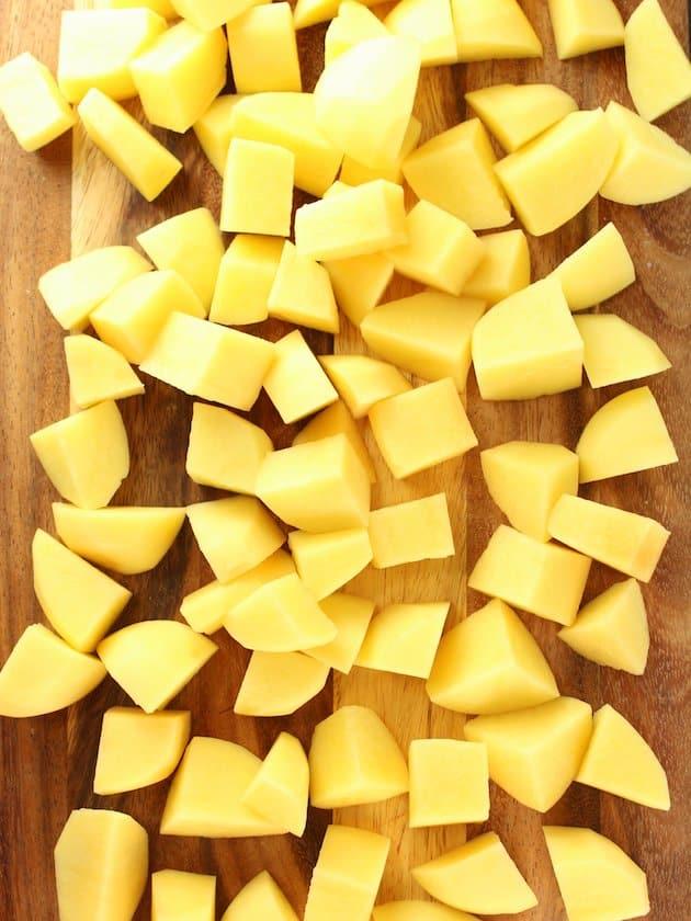 Diced Yukon Golds Potatoes on cutting board
