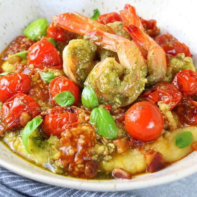 Pesto Shrimp With Parmesan Polenta