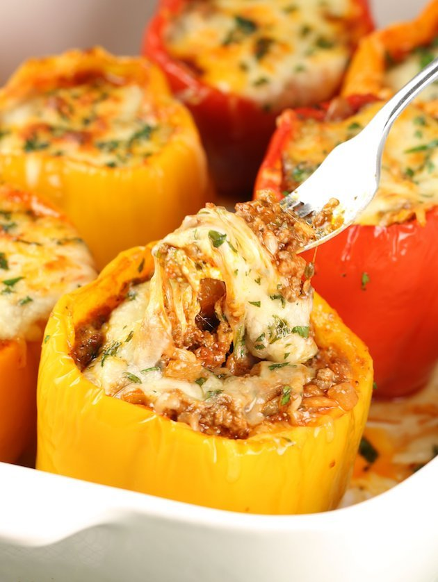 Close up stuffed italian lasagna pepper