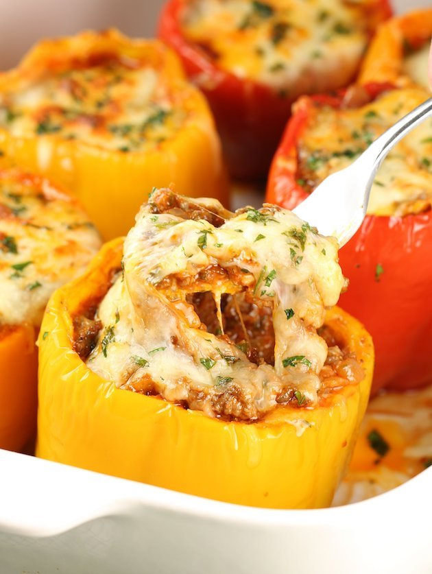 Baked Lasagna Stuffed Peppers Recipe Image