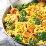 Buffalo Chicken Broccoli Mac and Cheese Partial Pan