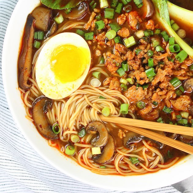 Easy Chicken Miso Ramen Image and Recipe Bowl OT Partial