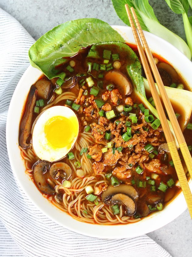 Easy Chicken Miso Ramen Image and Recipe Bowl OT Side