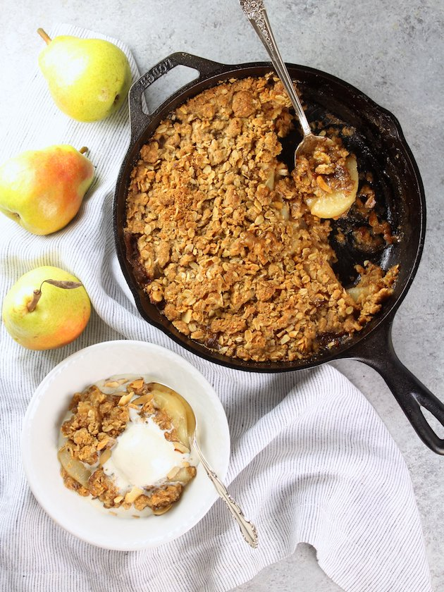 Pear Bourbon Skillet Crisp Recipe and Image Dish Ice Cream